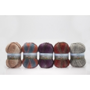 1 - Aire Valley Aran Fusions - Wool rich blend - 75% Wool in a stunning range of harmonising colours all in one ball
