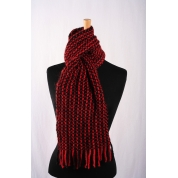 Luxury Mohair Scarf - Red / Black