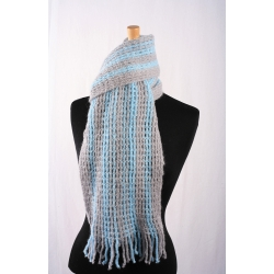 Luxury Mohair Scarf - Grey/ Turquoise Stripe